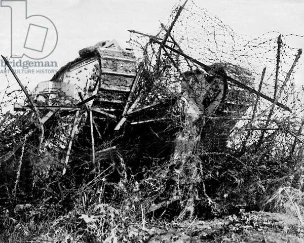 British tank in action, Western Front, France, WW1