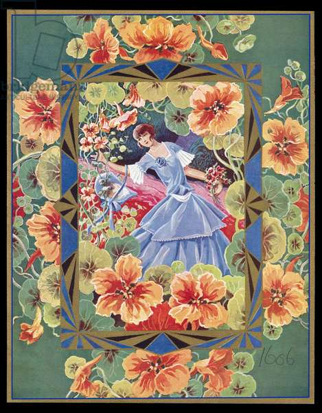 Chocolate box design, lady in a garden
