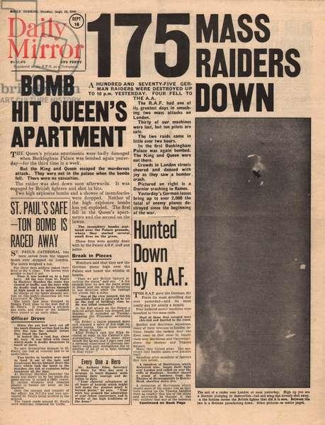 Air raids over Britain, Queen\'s apartment hit, WW2