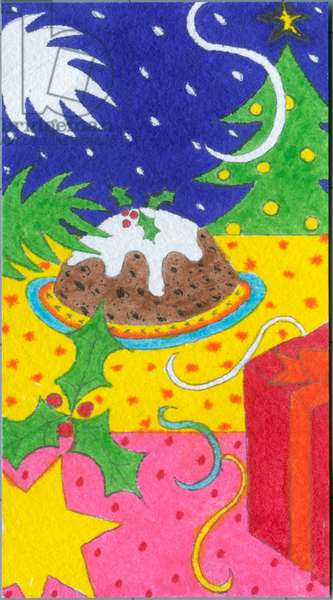 Christmas design with tree, pudding, holly and present