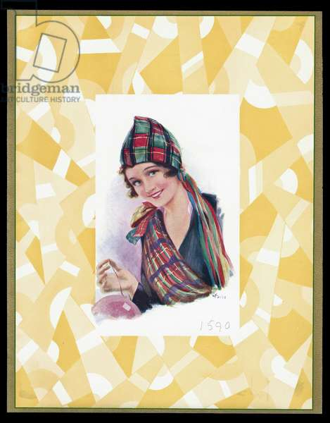 Chocolate box design, lady in tartan