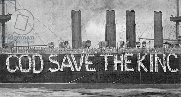 God Save the King in living letters on HMS Terrible