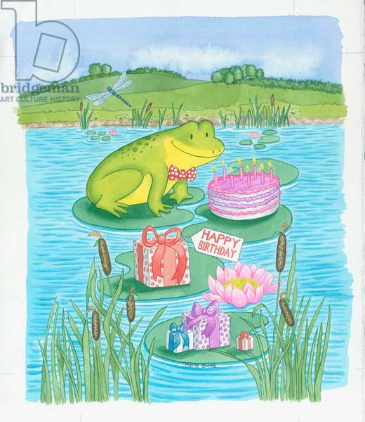 Birthday Frog - frog, birthday cake and presents on water li