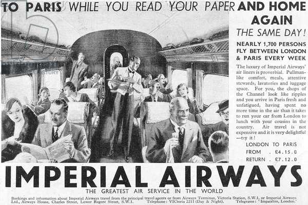 ADVERT/AIR TO PARIS 1934