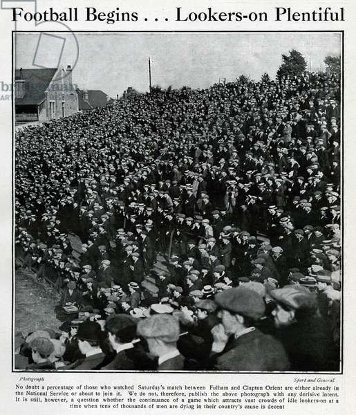 Spectators at Fulham v Clapton Orient football match