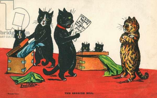 Louis Wain Postcard - The Seaside Bill