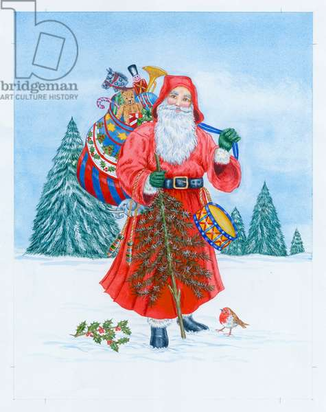 Father Christmas with his sack of toys holding a Christmas T