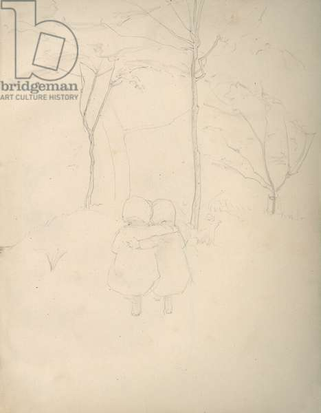 Pencil sketch of toddlers and trees