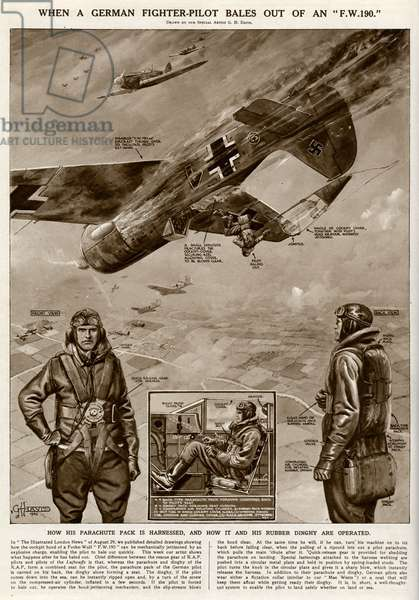 German pilot baling out of FW190 by G. H. Davis