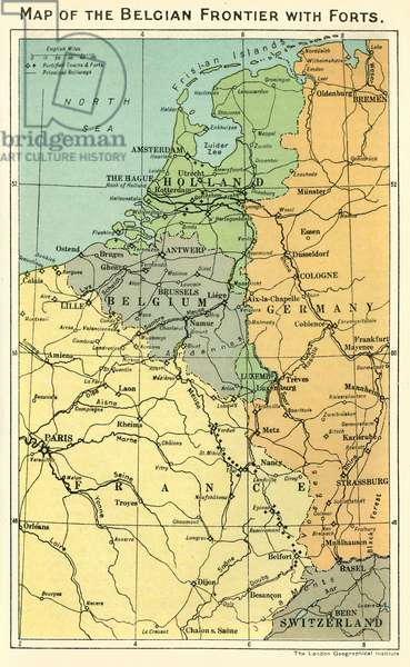 Map of the Belgian frontier with forts, World War One