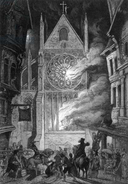 Old St. Paul's Cathedral burns - The Great Fire of London