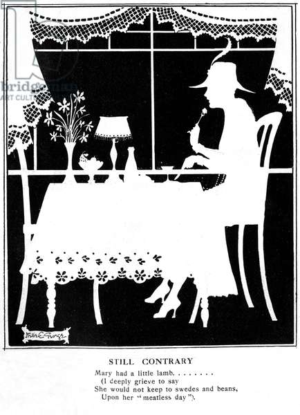 Lady eating in silhouette by Nellie E. George