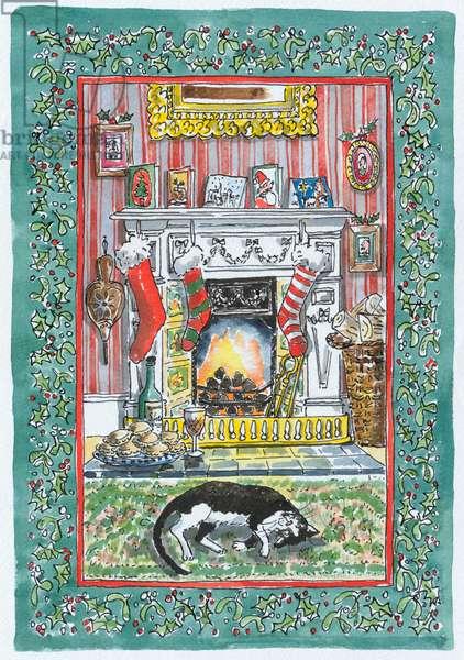 Christmas Fireplace with catand Christmas stockings