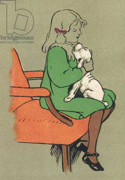 GIRL AND PUPPY 1909