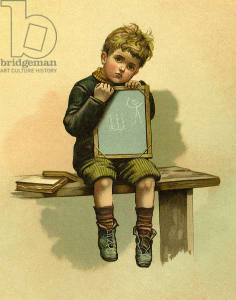 Young scholar with a slate