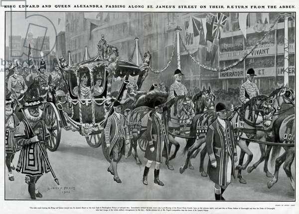 Coronation Edward VII & Alexandra returning from Abbey