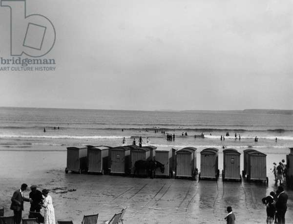 Bathing huts on the beach at Newquay, Cornwall