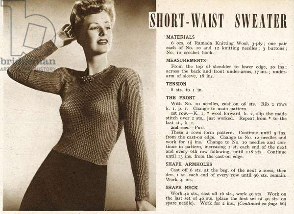 Knitting pattern 1945