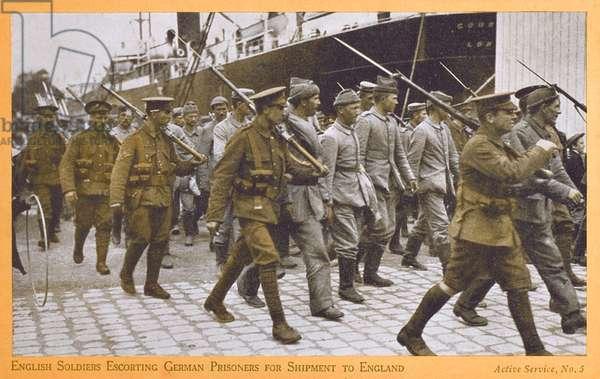 British Soldiers escort German Prisoners - WWI