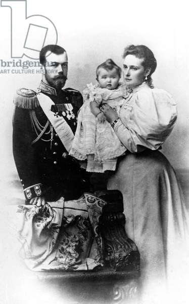Tsar Nicholas II With His Wife and Daughter