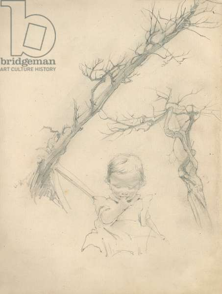 Pencil sketches of toddler and trees