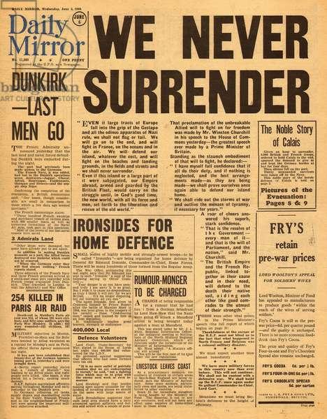 Dunkirk and Churchill speech - We Never Surrender