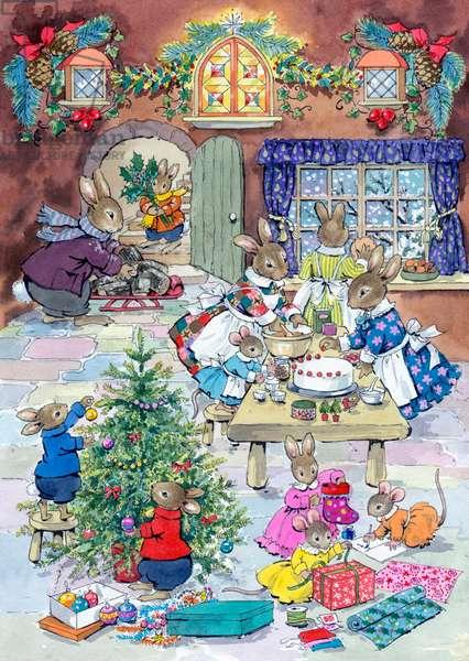 Christmas Eve - rabbit family preparing for Christmas