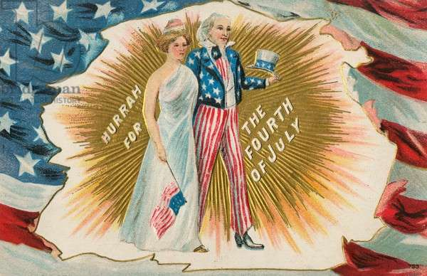American 4th of July themed postcard