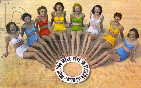 Eight Florida girls in Bikinis on the beach