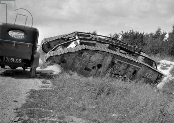 German tank at the side of a road, WWI