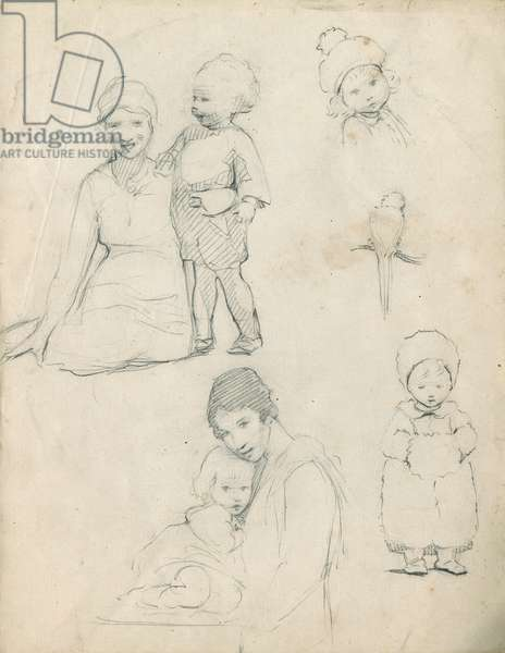 Pencil sketches of mothers and children