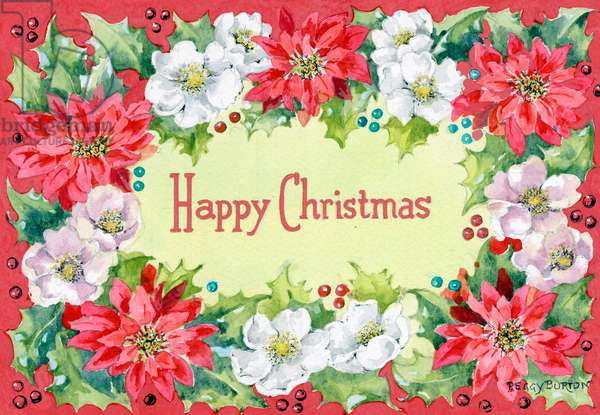Happy Christmas' with poinsettias, Christmas roses and holly