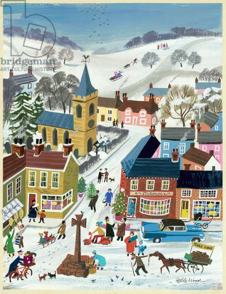Village Scene at Christmas Time