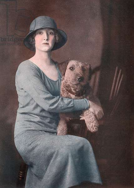 Lady Wodehouse with her Airedale Terrier