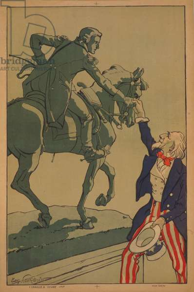 Uncle Sam shaking hands with the marquis de Lafayette (1757-