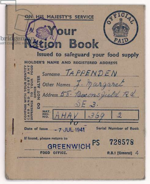 FOOD RATION BOOK 1941