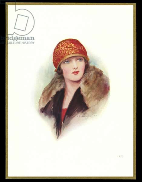 Chocolate box design, lady in red and gold cloche hat