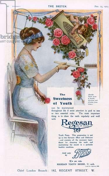 Regesan toothpaste advertisement, 1914