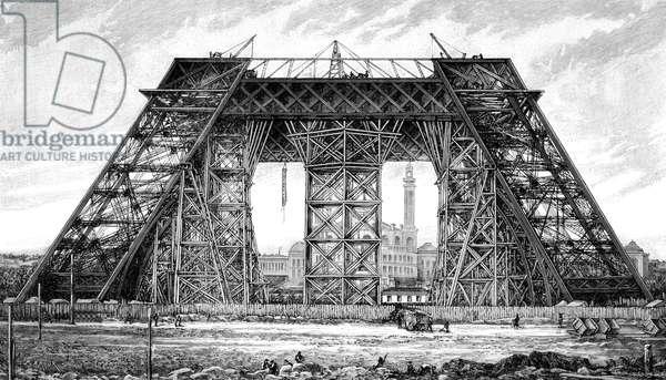 Paris, France - Tour Eiffel, Under Construction.
