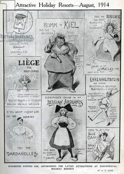 Cartoon, Attractive Holiday Resorts, August 1914, WW1