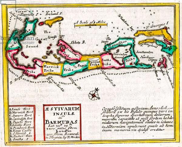 17th century Map of Insulae Barnudas (Bermuda)