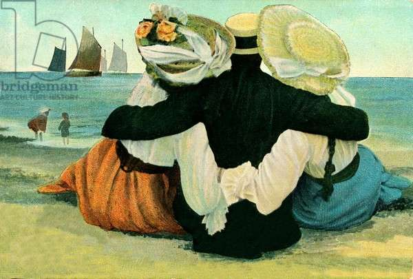 Gentleman at the seaside with his two lovely ladies