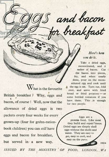 Dried eggs and bacon for breakfast 1945