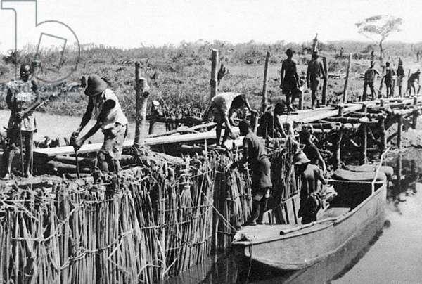 Temporary dam construction on River Dangu