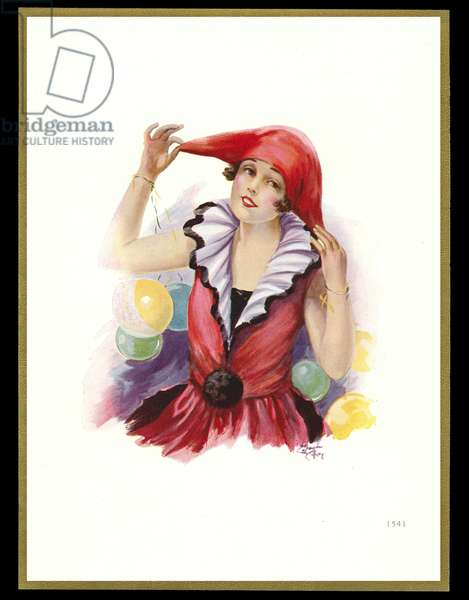 Chocolate box design, lady in carnival costume