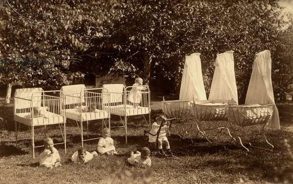 Babies outdoors at a Girls' Home