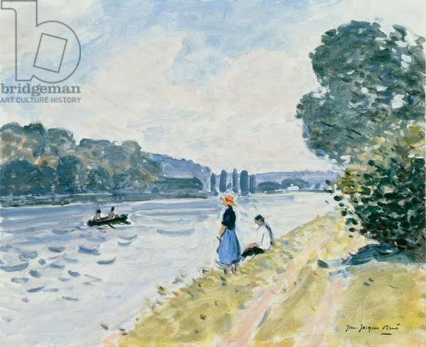 La Seine a Sahurs Ð two figures on river bank