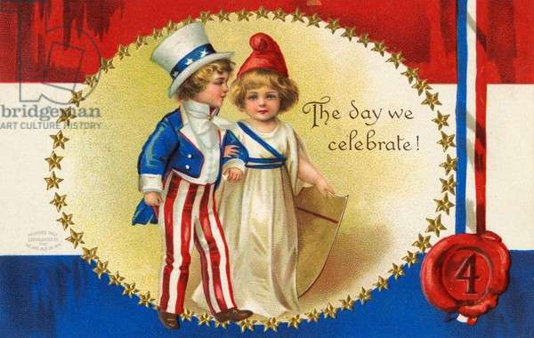 American 4th of July postcard. The day we celebrate