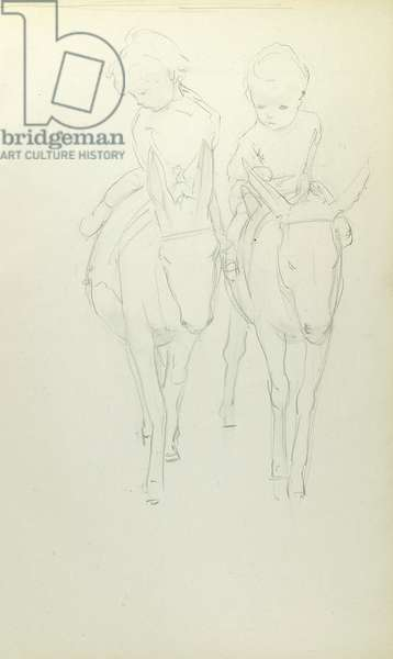 Pencil sketch of two children on donkeys