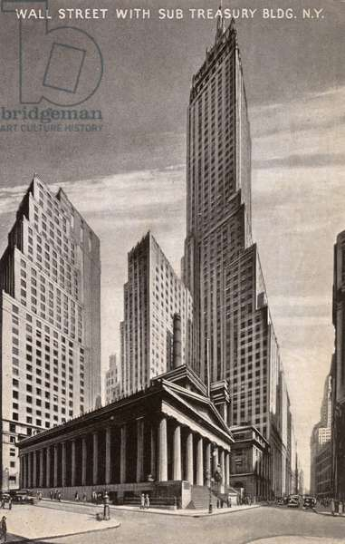New York, USA - Wall Street with Sub Treasury Building